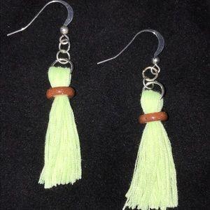 Handmade Bright Yellow Tassel Earrings